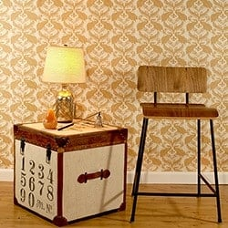Casart Coverings French Peacock Damask – Patterns_ginger down removable wallpaper room view