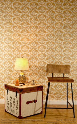 Casart coverings Patterns Damask-stool_ginger down full room view