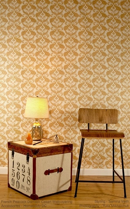 Casart Coverings Patterns French Peacock Damask removable wallpaper-stool_ginger down full room view