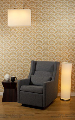 Casart coverings Patterns Damask_Chair-lights_full room view