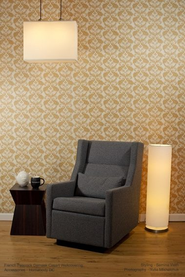 Casart Coverings Patterns Damask removable wallpaper_Chair-lights_full room view