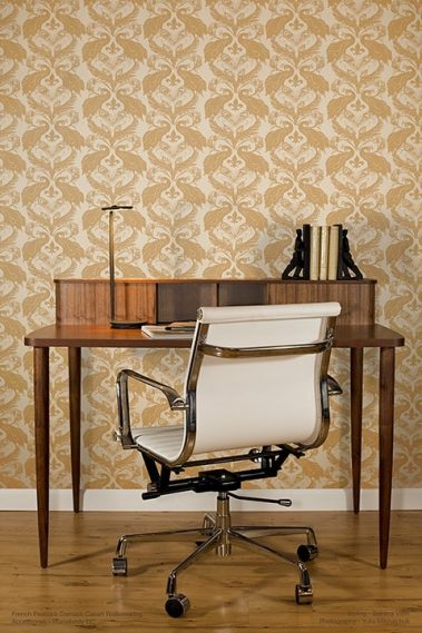Casart Patterns Damask removable wallpaper_Desk-Chair_full room view