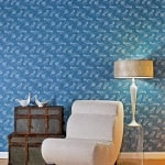 Casart coverings Casart coverings Quill - Persian blue full room view - white chair_indigo room view