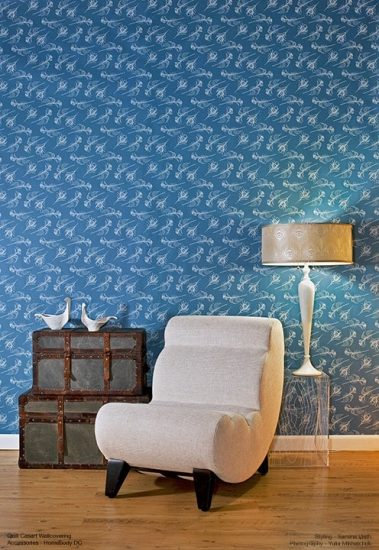 Casart Coverings Quill - Persian blue removable wallpaper full room view - white chair_indigo room view