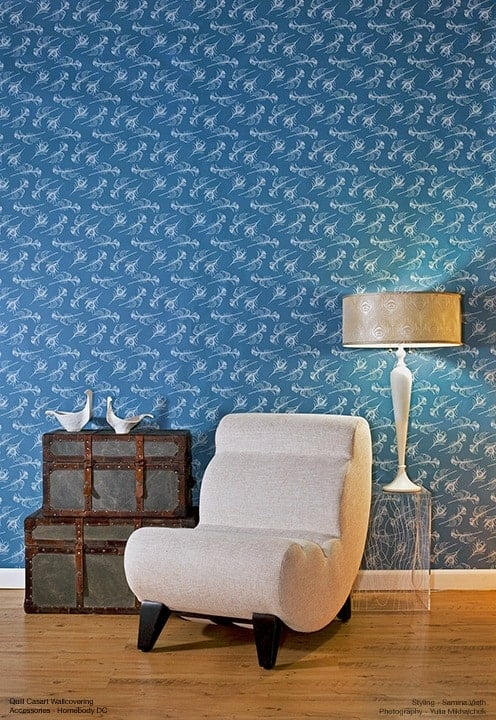 Casart Coverings Quill - Persian blue removable wallpaper for homes full room view with white chair