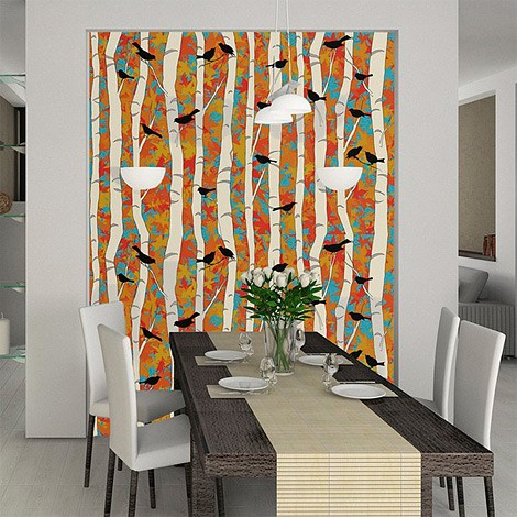 Birds n Birch removable wallcovering mural
