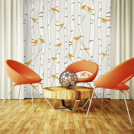 BIrds Birch mural wallcovering with circular chairs
