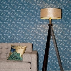 Casart Coverings Quill – Peacock Patterns_Indigo room view