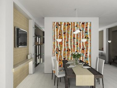 Casart coverings Birds & Birch – Designs & Murals Bold Dining Room