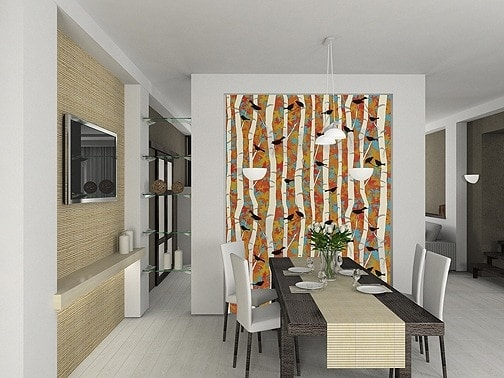 Casart coverings Birds and Birch Bold Dining Room