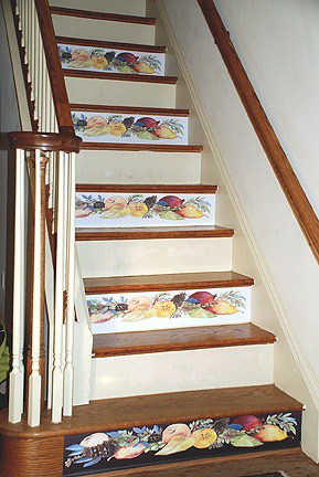 Casart coverings_DellaRobbia_on Stair Risers_ Room View