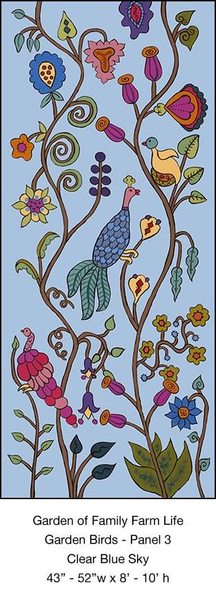 Casart_Garden Birds Mural 3_Clear Blue Sky_Kristin Nicholas_3x