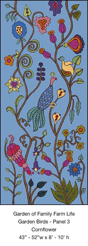 Casart_Garden Birds Mural 3_Cornflower_Kristin Nicholas_9x