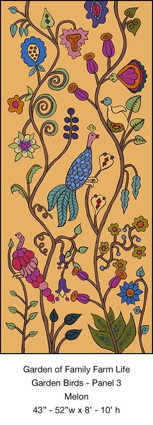 Casart Garden Birds Mural 3_Melon_Kristin Nicholas_8x