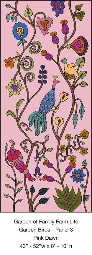 Casart Garden Birds Mural 3_Pink Dawn_Kristin Nicholas_1x