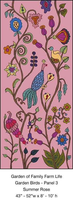 Casart Garden Birds Mural 3_Summer Rose_Kristin Nicholas_7x