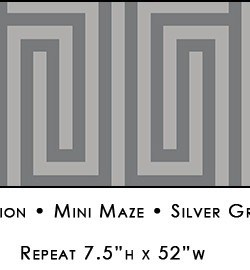 Casart coverings Silver Gray & Soft Charcoal Mini Maze_Libby Langdon Collection_3x