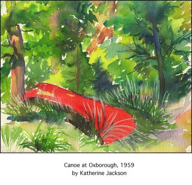 Casart Coverings Red Canoe is a vintage boat painting removable mural in Katherine Collection