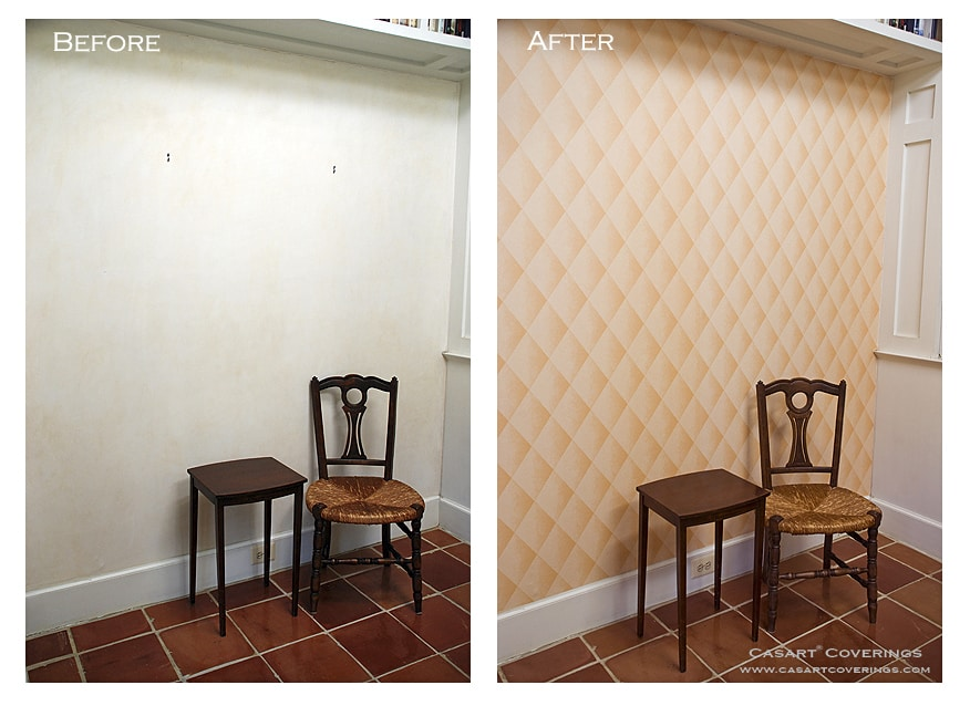 Casart Coverings Before and After Faux Padded Harlequin Removable Wallpaper
