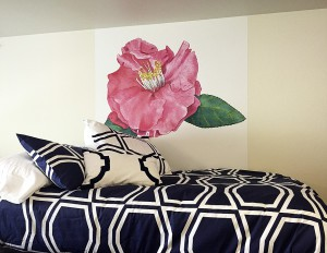 Casart coverings Camellia temporary wallpaper is used in a College dorm room