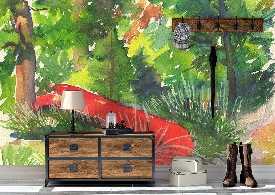 Casart Coverings Red Canoe Vintage Painting Mural removable wallpaper room