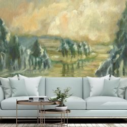 Casart Coverings AK Winter Memory Tree Scene Mural removable wallpaper in living room
