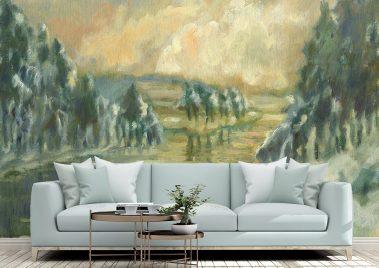 Casart Coverings AK Winter Memory Tree Scene Mural removable wallpaper in living room