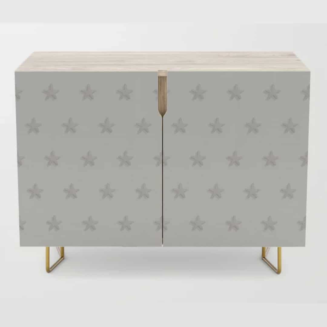 Casart Chest Credenza Starfish Pattern Light Beige Sand