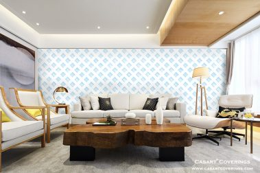 Casart Coverings Cerulean Lattice removable wallpaper in Asian inspired room