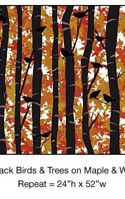 Casart_Black Birds Birch Maple White Background Detail_11x