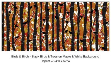 Casart_Black Birds Birch Maple White Background Detail_11x