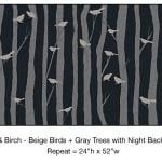 Casart_Beige Birds Gray Birch Trees Night Detail_12x