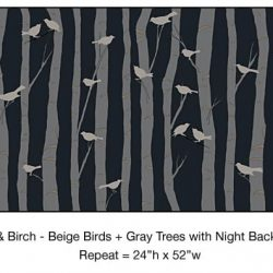 Casart_Beige Birds Gray Birch Trees Night Detail_12x