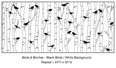 Casart_Black Birds Birch White Background Detail_1x