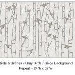 Casart_Gray Birds Beige Birch Background Detail_2x