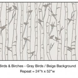 Casart_Gray Birds Beige Birch Background Detail_2x