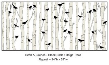 Casart_Black Birds Beige Birch Trees Detail_3x