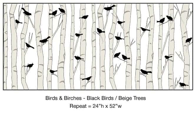 Casart_Black Birds Beige Birch Trees Detail_3x