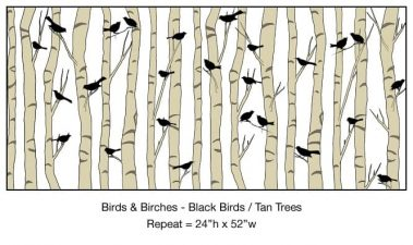 Casart_Black Birds Tan Birch Trees Detail_4x