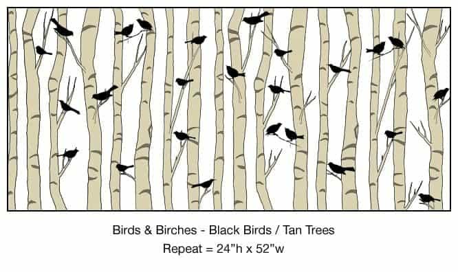 Casart_Black Birds Tan Birch Trees Detail_4x