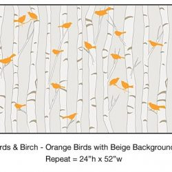 Casart_Orange Birds Birch Trees Beige Background Detail_7x