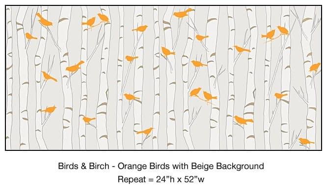Casart_Orange Birds Birch Trees Beige Background Detail_7x