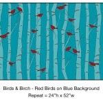 Casart_Red Birds Blue Birch Detail_8x