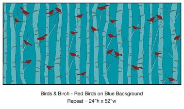 Casart_Red Birds Blue Birch Detail_8x