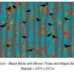 Casart_Black Birds Brown Birch Trees Maple Detail_9x