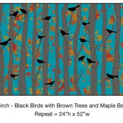 Casart_Black Birds Brown Birch Trees Maple Detail_9x