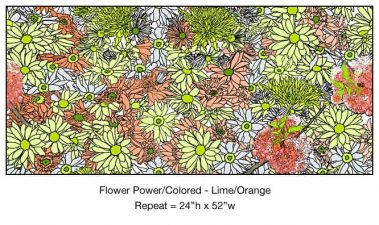 Casart_Multicolored_ Lime-Orange_Flower Power - Botanicals C_5x