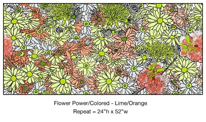 Casart_Multicolored_ Lime-Orange_Flower Power- Bontanicals C_5x