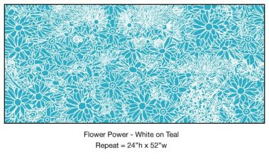 Casart_White on Teal Flower Power Botanicals_5x