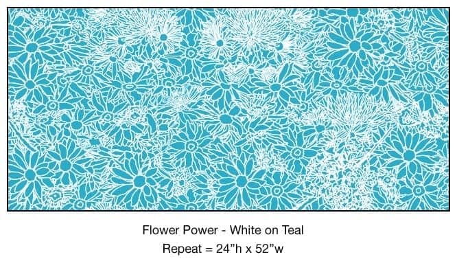 Casart_White on Teal Flower Power_5x